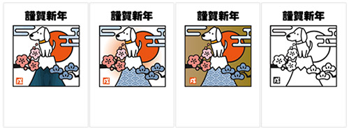 切り絵風の戌と富士山