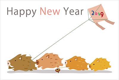 お正月にちなんだものとい猪の組み合わせたテンプレートが多数!