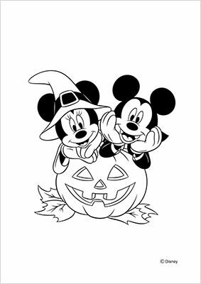 ミッキーやミニーハロウィン塗り絵